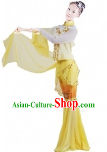 Chinese Fan Dance Clothes and Headdress for Women
