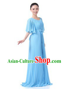 Chinese Blue Chorus Clothes for Women