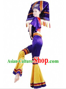 Traditional Chinese Buyi Tribe Clothing and Hat for Women