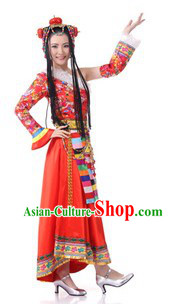 Traditional Tibetan Clothing and Headdress for Women