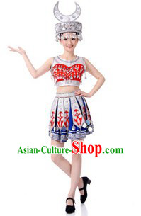 Traditional Chinese Miao Tribe Clothing and Headdress for Women