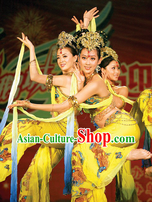 Ancient Chinese Palace Dancer Costumes and Headpiece for Women