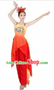 Traditional Chinese Phoenix Dance Costumes and Headdress for Women