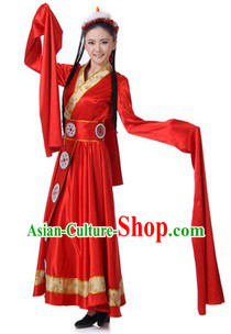 Traditional Chinese Tibetan Dresses and Hair Accessories for Women