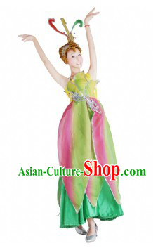 Chinese Flower Dance Costumes and Headdress for Women