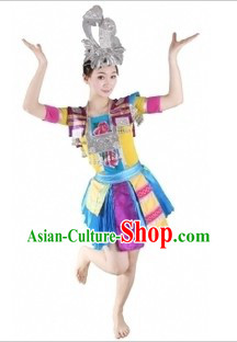 Traditional Chinese Miao Tribe Clothing and Hat for Women
