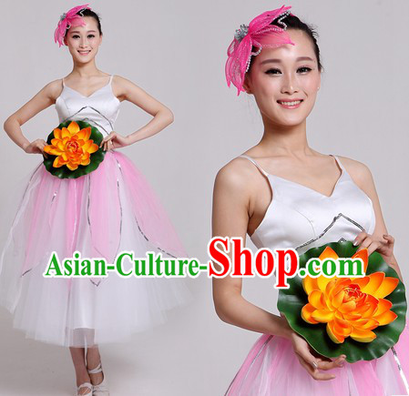 Chinese Classical Flower Dance Clothes and Headpiece for Women