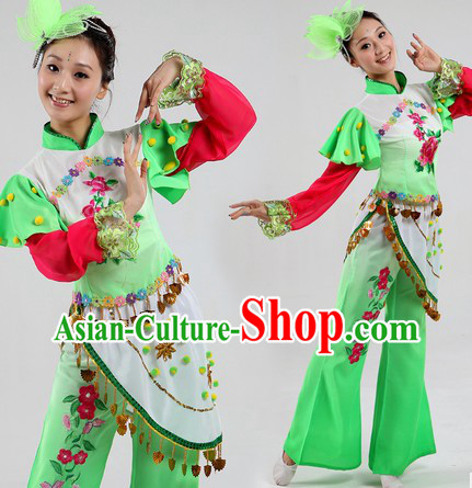 Traditional Chinese Group Dance Costumes and Headpiece for Women