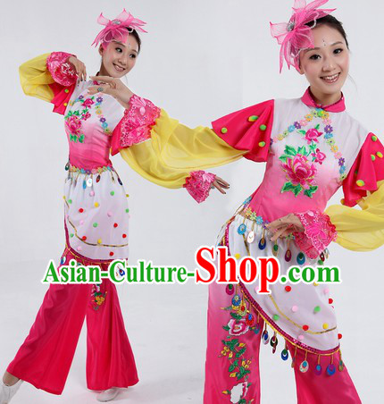 Traditional Chinese Flower Contemporary Costumes and Headpiece for Women