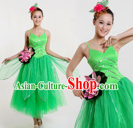 Traditional Chinese Lotus Contemporary Costumes and Headpiece for Women