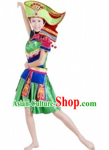 Traditional Chinese Zhuang Tribe Clothing and Hat for Women