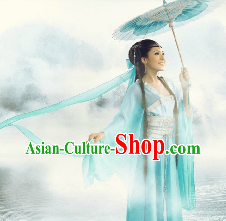 Ancient Chinese Light Blue Beauty Clothing and Headpiece for Women