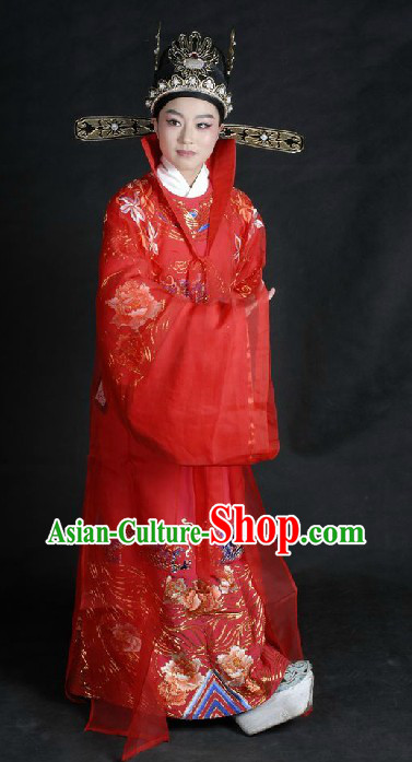 Ancient Chinese Opera Red Wedding Dress and Hat for Bridegrooms