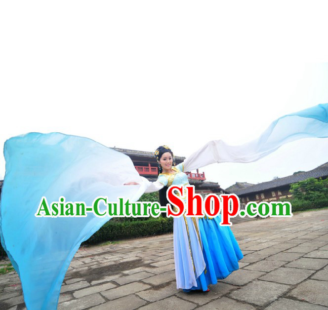 Ancient Chinese Blue Palace Dancer Costumes and Headpiece for Women