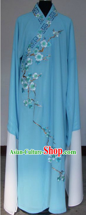Ancient Chinese Blue Plum Blossom Long Sleeve Robe for Men