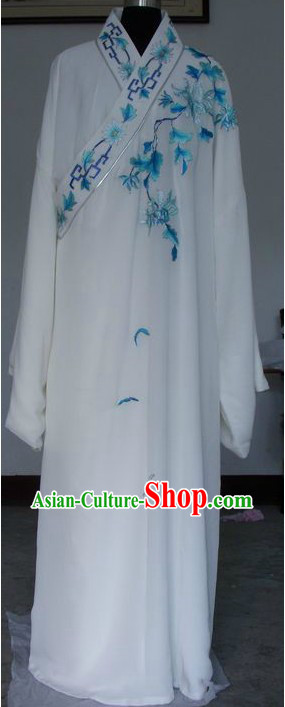 Ancient Chinese Opera White Long Sleeve Robe for Men