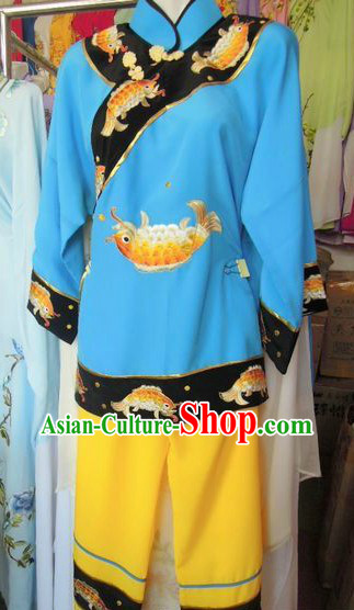 Ancient Chinese Blue Embroidered Fish Costumes for Women