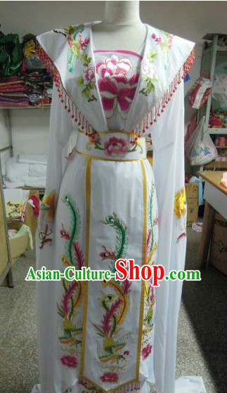 Ancient Chinese White Phoenix Embroidery Costumes for Women