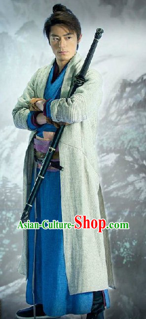 Ancient Chinese Knight Swordsman Costumes and Cape Complete Set