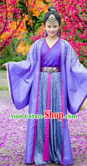 Ancient Chinese Purple Princess Clothing and Headpiece for Women