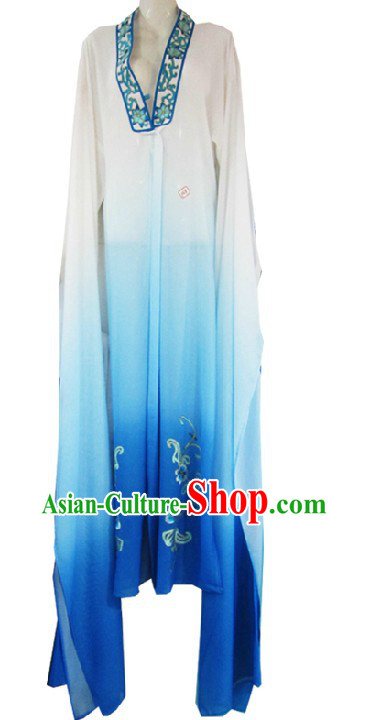 Ancient Chinese Opera White to Blue Transition Robe for Women