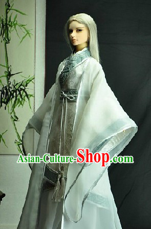 Ancient Chinese White Guzhuang Costumes for Men