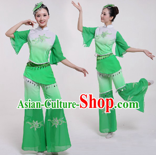 Chinese Classical Dancing Costumes and Headdress for Women