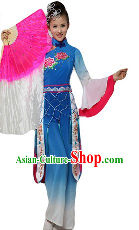 Chinese Classical Blue Fan Dancing Costumes and Headpieces
