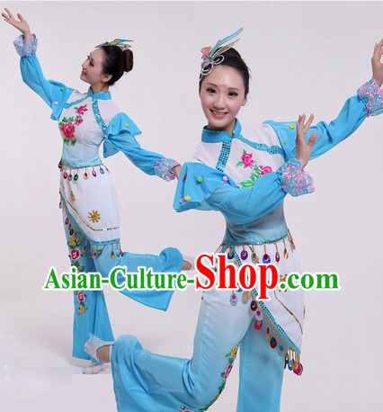 Traditional Chinese Blue Fan Dancing Costumes and Headpiece for Women