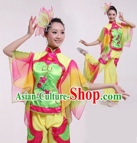 Traditional Chinese Fan Dancing Costume and Headpieces for Women