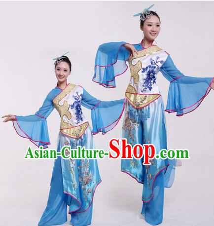 Chinese Classical Stage Performance Dance Costumes and Headpieces