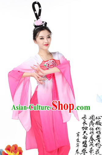 Pink Chinese Classical Dancing Costumes and Wig