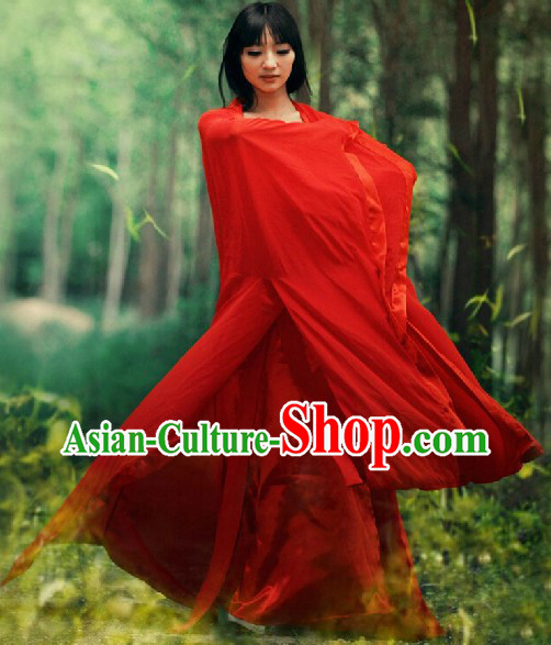 Ancient Chinese Red Han Fu Guzhuang Costumes