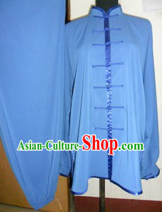 Traditional Chinese Blue Silk Tai Ji Clothing