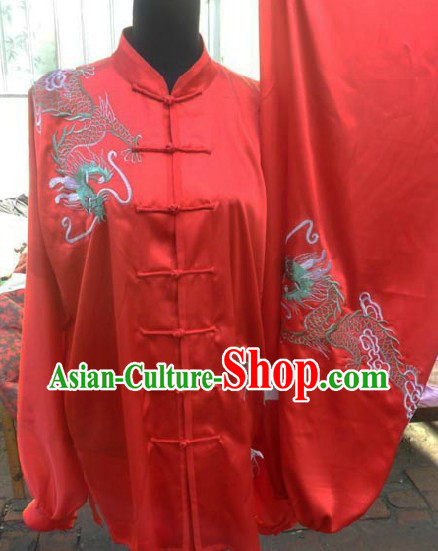Traditional Chinese Red Dragon Embroidery Silk Tai Chi Suit