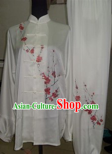 Traditional Chinese White Silk Martial Arts Clothes