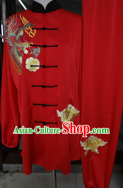 Traditional Chinese Red Tai Ji Martial Arts Phoenix Embroidery Uniform