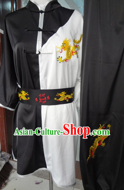 Traditional Chinese Black and White Dragon Martial Arts Wu Shu Dresses