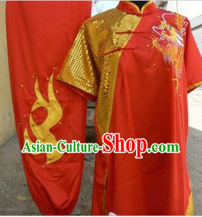 Traditional Chinese Red Dragon Embroidery Kung Fu Costumes