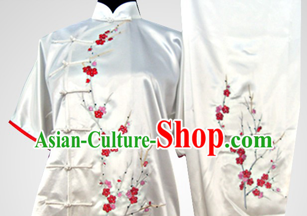 Traditional Chinese Short Sleeves Embroidered Flower Martial Arts Outfits