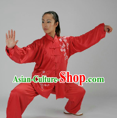 Traditional Chinese Red Taiji Martial Arts Clothing for Women