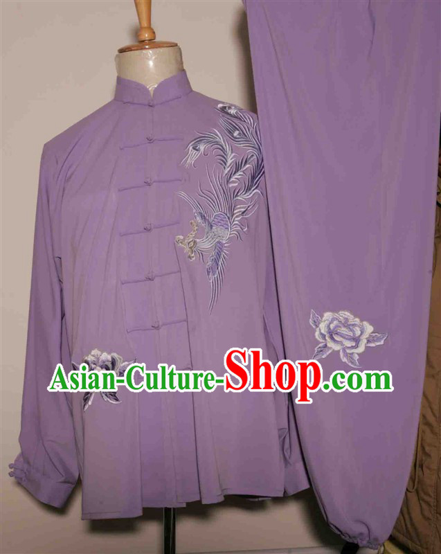Purple Chinese Phoenix Embroidery Tai Chi and Martial Arts Competition Outfit for Women