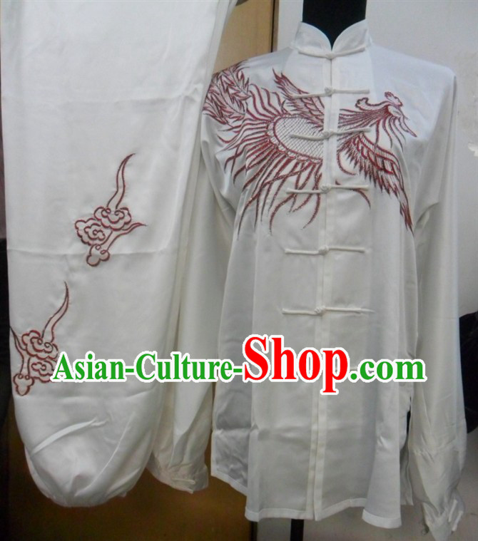 White Chinese Phoenix Embroidery Tai Ji Martial Arts Clothing