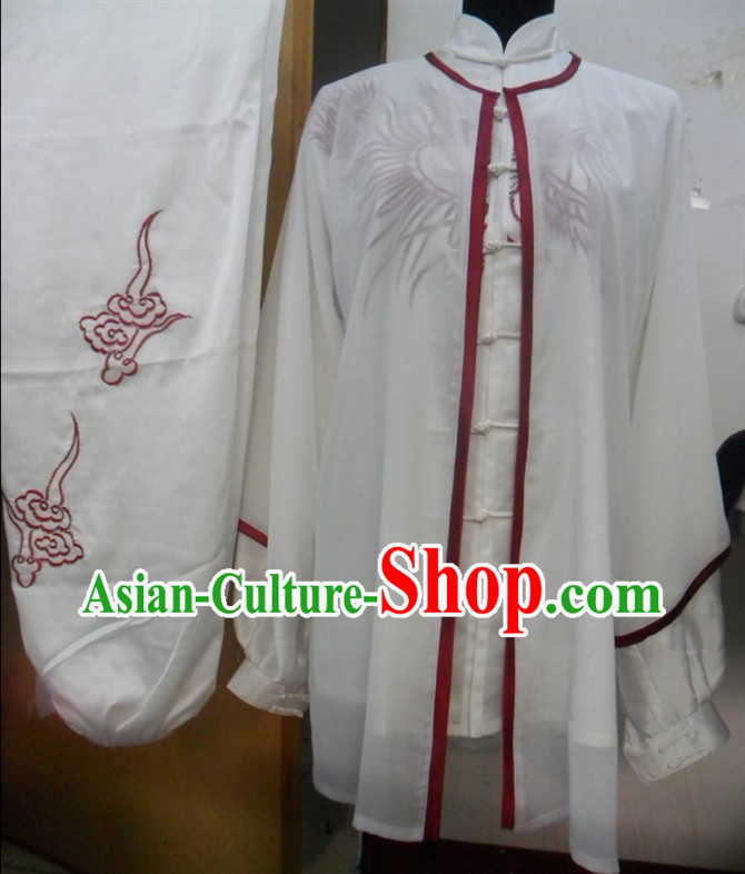 White Chinese Phoenix Embroidery Tai Ji Martial Arts Clothes and Cape