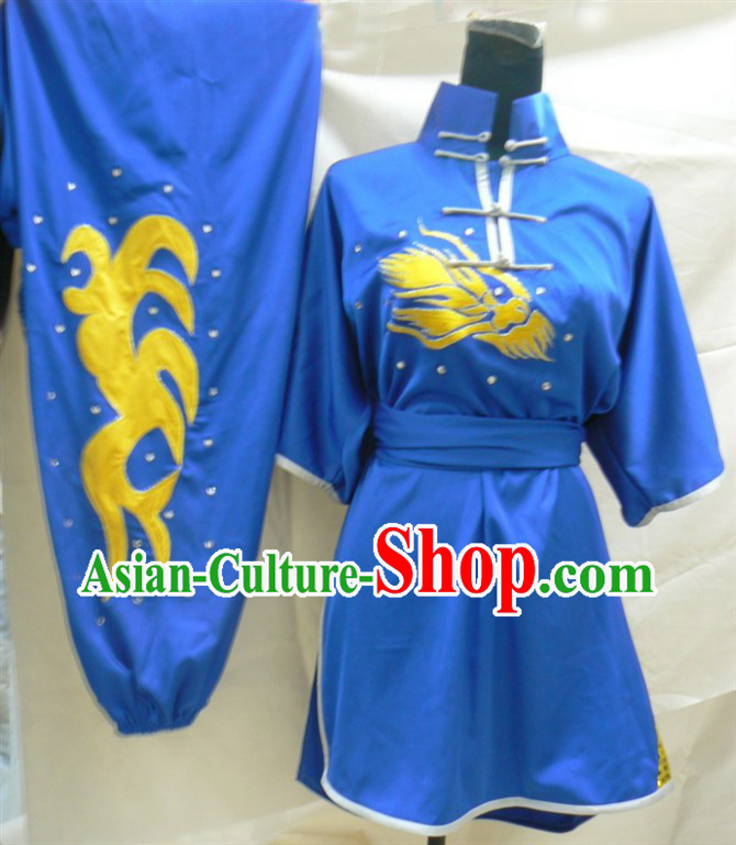 Blue Chinese Embroidery Long Fist Southern Fist Kung Fu Outfit
