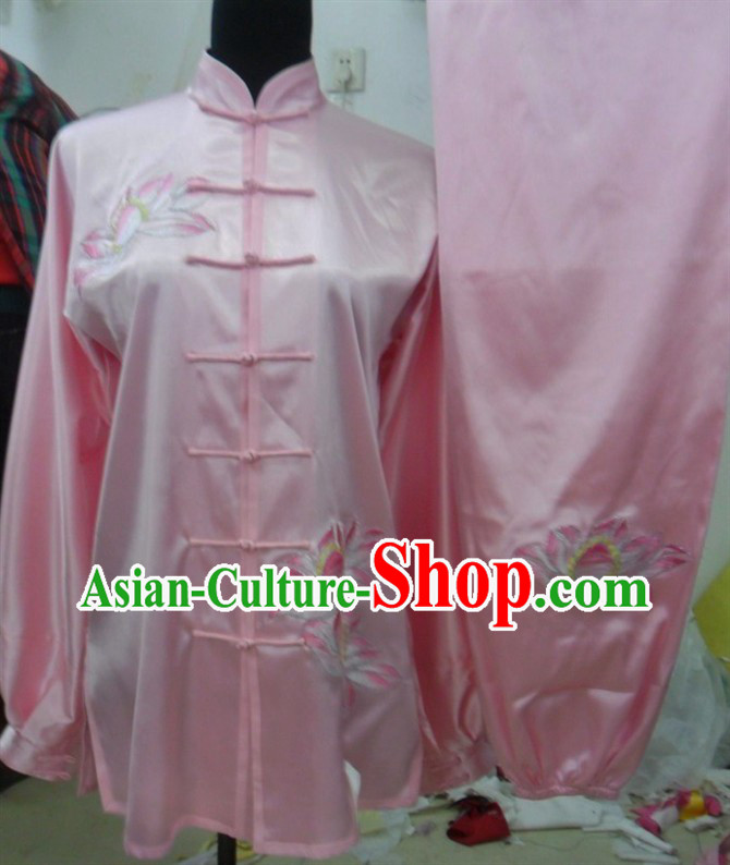 Pink Traditional Chinese Lotus Embroidery Long Sleeves Kung Fu Tai Chi Uniform