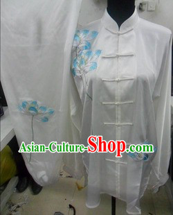 White Traditional Chinese Lotus Embroidery Long Sleeves Kung Fu Tai Chi Uniform