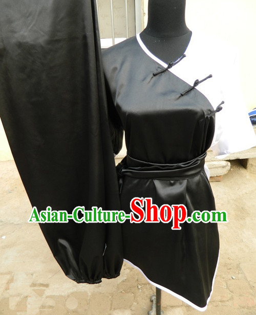 Traditional Chinese Black and White Short Sleeve Gong Fu Uniform