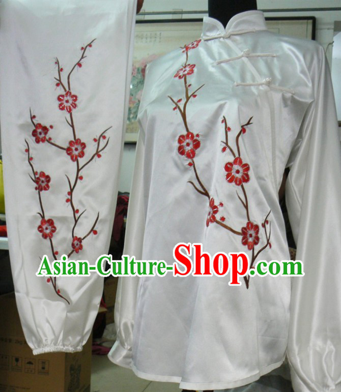 Traditional Chinese White Short Plum Blossom Martial Arts Uniform