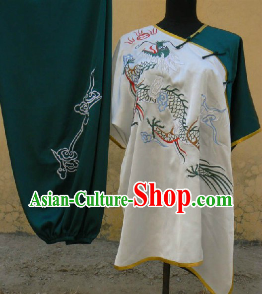 Short Sleeves Dragon Embroidery Martial Arts Tai Ji Clothing